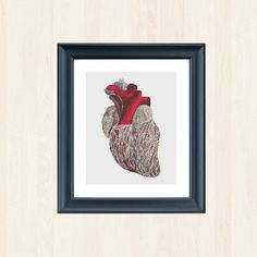 Heart Cross Stitch Anatomy Vintage Pattern Steampunk Decor