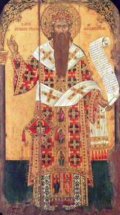 St Cyril of Alexandria. The Antivouniotissa museum, Corfu, Greece. Byzantine Icons, Byzantine Art, Religious Icons, Religious Art, Medieval Art, Renaissance Art, Orthodox Catholic, Roman Church, Medieval Paintings