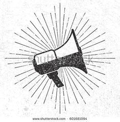 Vintage megaphone with sunburst on grunge background, download link https://www.shutterstock.com/image-vector/vintage-megaphone-sunburst-on-grunge-background-601681094?rid=454507