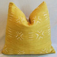 Handwoven Gold & Cream Tribal Feather & Down Pillow on Chairish.com