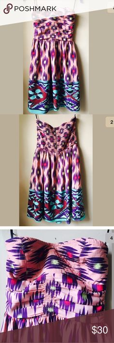 MM Couture Miss Me Strapless  tribal SunDress MM Couture By Miss me  Strapless Dress Stunning Tribal Print Fun Colors Perfect for spring and summer Medium  Like New! In excellent condition. MM Couture Dresses Strapless