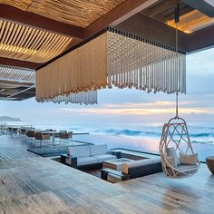 Bluarch Designs Top-Notch Interiors for NYC Club Spring Place Strand Wallpaper, Beach Wallpaper, Deco Restaurant, Restaurant Design, Restaurant Ideas, Beach Club, Beach Hotels, Hotels And Resorts, Hilton Hotels