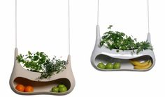 Cocoon: A hanging fruit basket and herb planter in one!