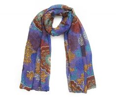Purple Scarf with a riot of gold, rust and blues making this a perfect choice to match with neutral tones