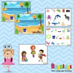 -- Beach Barrier Game for Vocabulary Development -- This barrier game includes a beach scene, 27 objects, 6 characters, full instructions and preparation requirements. -- Key words: barrier, game, language, development, vocabulary, speech, therapy, pathology, printable, downloadable.