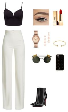 """Chic."" by oktagon on Polyvore featuring Brandon Maxwell, Gucci, FOSSIL, Christian Louboutin, Rebecca Minkoff, Yves Saint Laurent and Kate Spade"