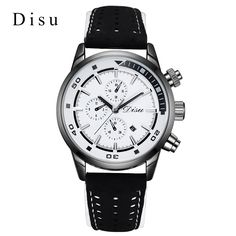 >> Click to Buy << Disu Brand Casual Fashion Watch Men Sliver Three Clock Dial Luxury Wrist Watch Business Leather band Ladies Quartz Watches Gift  #Affiliate