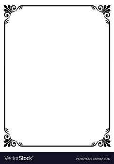 Simple ornamental decorative frame vector image on VectorStock Simple Borders, Borders And Frames, Borders For Paper, Page Borders Free, Page Borders Design, Boarder Designs, Frame Border Design, Certificate Layout, Calendrier Diy