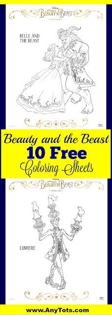 10 Free Beauty and the Beast Coloring Sheets: Belle, Chip, Mrs Potts, Lumiere, the Beast, Gaston and more. You can use this free Beauty and the Beast activity sheets for a Beauty and the Beast birthday, a fun kids activity at home or at school, spring break activity, etc. For more Free printable Coloring Sheets, visit www.anytots.com