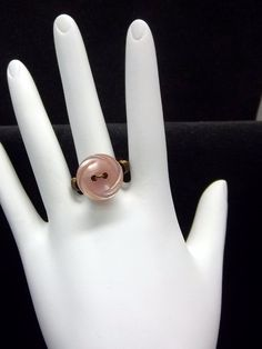 Ring Wire Wrapped With Vintage Pink Button by coolbuttons on Etsy, $10.00
