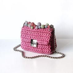 Items similar to Bon bon beads handle drop Crochet Accessories, Bag Accessories, My Bags, Purses And Bags, Knitted Bags, Knit Bag, Crochet Handles, Beaded Bags, Clutch Bag