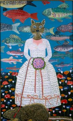 Joan Brown painting of the cat bride