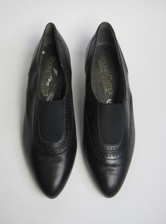 Vintage 1980s Black Leather Pointed Brogue-inspired Shoes available to buy online at Virtual Vintage Clothing £23