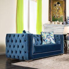 Furniture of America Giselle Contemporary Premium Velvet Loveseat