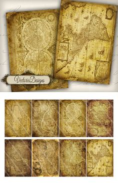 Old Maps ATC vintage images digital background by VectoriaDesigns, $3.65