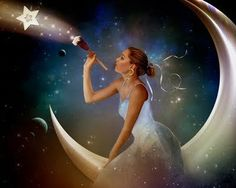 In my fantasy world, there is a lady on the moon who creates the stars for us to enjoy.