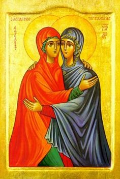 Feast of The Visitation of the Blessed Virgin Mary to Elizabeth, May 31 Blessed Mother Mary, Blessed Virgin Mary, Religious Icons, Religious Art, Mary And Jesus, The Good Shepherd, Orthodox Icons, Patron Saints, Russian Art
