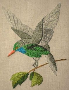 Hummingbird. Could be done as applique. PDF project instructions.