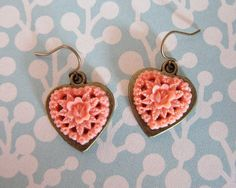 Peachy Keen Heart Earrings - Resin Rose Cabochon - Bronze Valentine Jewelry LOVE $15.00