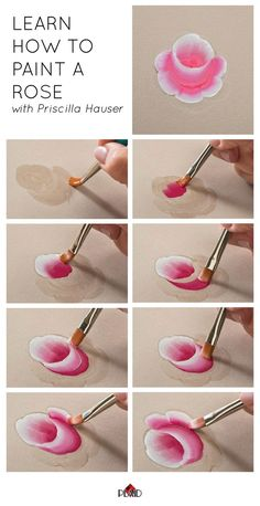 Learn how to paint a rose with Priscilla Hauser! Super easy step by ...