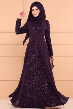 ABİYE Şifon Detay Pulpayet Abiye ALM52714 Mor Hijab Dress Party, Hijab Style Dress, Hijab Wedding Dresses, Muslim Fashion, Hijab Fashion, Hijabi Gowns, African Dress, Couture, Formal