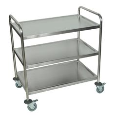 Luxor Silver Three Shelf Rolling Stainless Steel Kitchen Cart |  Overstock.com Shopping