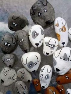 Galets peints et petits chiens ! | Galets création | Pinterest | Rocks, Dogs and Painted Rocks
