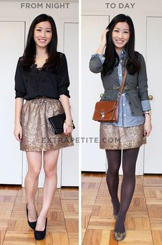 how to wear a sequin skirt for day and night
