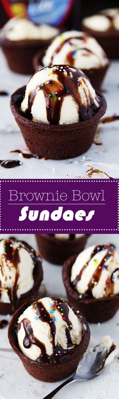 Brownie Bowl Sundaes are an adorable treat to stay cool with this Summer.