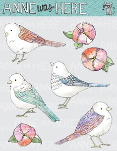 Illustrated Watercolor Birds and Flowers - Digital Clip Art  WIFA possible logo art