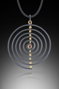 Spiral Pendant: Ilene Schwartz: Gold, Silver, & Stone Necklace - Artful Home