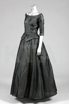 Christian Dior couture spotted black black ball gown, A-line collection, Spring-Summer, 1955