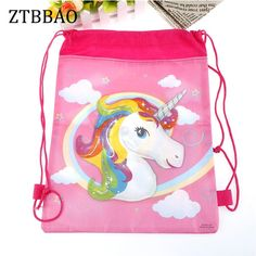 0e6f5010c0 1pcs lot unicorn drawstring bags kids back bags cartoon theme unicorn string  bags baby shower