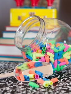 LDS Primary Chorister Ideas: Jar Full Of.erasers, spider rings, small cheap things, etc great idea for sharing time also! Primary Songs, Primary Singing Time, Primary Activities, Lds Primary, Primary Lessons, Primary Colors, Kids Singing, Back To School Party, Back To School Gifts
