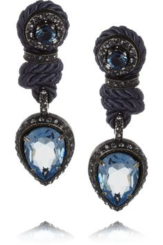 Lanvin | Crystal and cord clip earrings