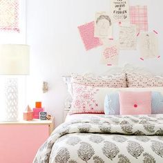 Kids Room with Pink Nightstand, Contemporary, Girl's Room
