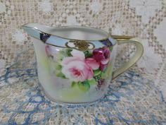 Pitcher, Noritake Japan, Green Cherry Blossom Mark, Hand Painted Porcelain Pink Roses, Blue & Gold Hexagon Shape Creamer or Milk Pitcher by TreasuresTimeworn on Etsy