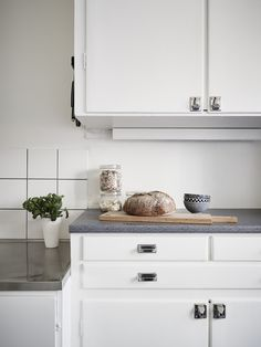 Kitchen love! Built-in cupboards painted white.