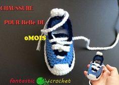 Baskets  pour bébé au crochet كروشيه حذاء اطفال