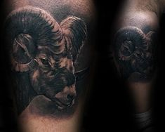 Man With Realistic Ram Leg Calf Tattoo