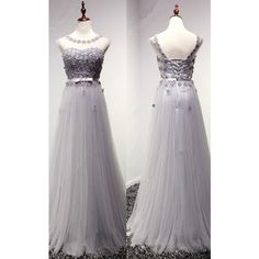 Gray A Line Scoop Neck Tulle Floor Length Sashes Ribbons Long Prom... ($139) ❤ liked on Polyvore featuring dresses, a line dress, tulle prom dress, grey tulle dress, a line long dress and long grey dress