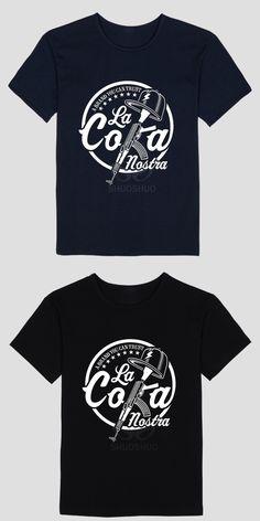 Summer fashion short sleeve T-shirt LA COKA NOSTRA Logo Design on Adult Man t shirt Discount Classic Round Neck t shirts Sites