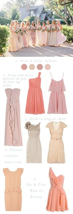 how to mismatch bridesmaids gowns: nude to blush to peach