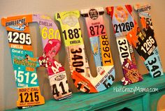 Race Bib Display- What to do with your old race bibs Running Bibs, Running Medals, Keep Running, Running Art, Running Food, Running Quotes, Race Bib Display, Running Bib Display, Trophy Display
