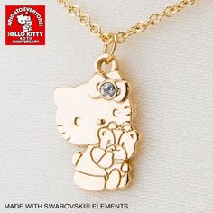 Hello Kitty & Tiny Chum Necklace with SWAROVSKI 40th Anniversary SANRIO JAPAN