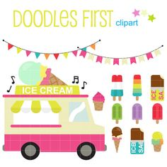 Ice Cream Truck Digital Clip Art for Scrapbooking by DoodlesFirst