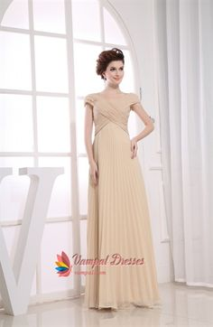 Champagne Chiffon Prom Dress, Long Chiffon Mother Of The Bride Dresses  $142