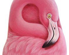 Een zeldzame vorm van steen getransformeerd in een roze Flamingo! Rotskunst van het schilderij door Roberto Rizzo
