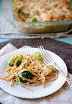 Quick and easy healthy tetrazzini with chicken and broccoli.