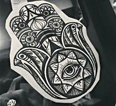 Henna hamsa indie buddha design tattoo art